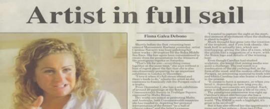 "Caroline Navarro – Malta Times ""Artist in Full Sail"""