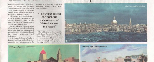 Caroline Navarro – Sunday Times of Malta – Three Artists in St. Tropez Exhibit – July 19, 2015